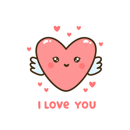 Cute heart with quote I  love you. It can be used for sticker, patch, card, phone case, poster, t-shirt, mug etc. Valentines day card.
