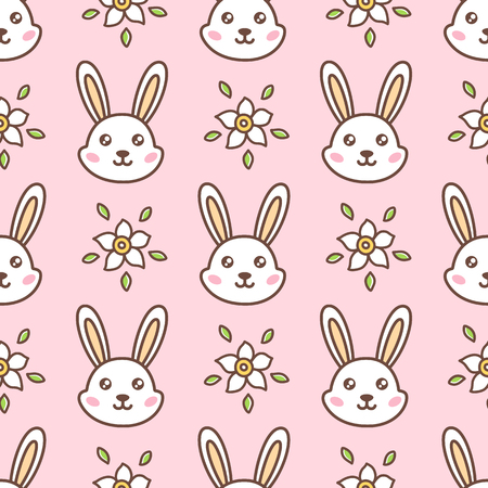 Seamless pattern with cute face rabbit and flowers for Happy Easter. Illustration