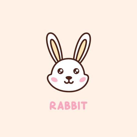 Cute face character rabbit. It can be used for sticker, patch, card, phone case, poster, t-shirt, mug etc.