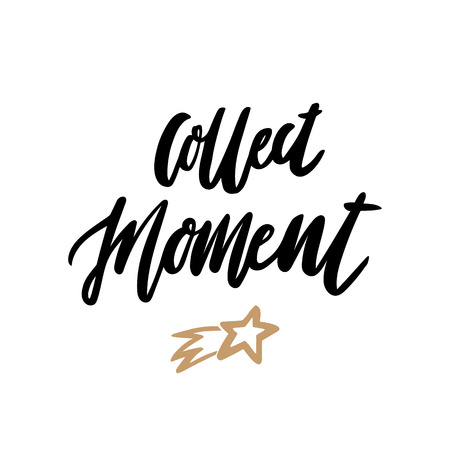 Hand-drawn lettering phrase: Collect Moment, of black ink on a white background. 일러스트