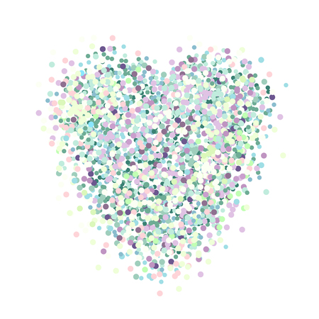 Heart of colorful glitter like mermaid scales on a white background. Stock Illustratie