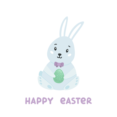 Cute rabbit with egg and inscription Happy Easter.