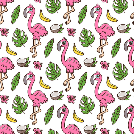 Tropical seamless pattern with flamingo, banana, coconut, palm leaves and Hawaiian hibiscus flower. It can be used for packaging, wrapping paper, textile and etc. Excellent print for childrens clothes, bed linens, etc. Ilustração