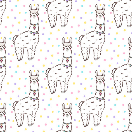 Seamless pattern with  kawaii llama with a smile, on a white background and multicolored confetti. It can be used for packaging, wrapping paper, textile and etc. Excellent print for childrens clothes, bed linens, etc. Illustration