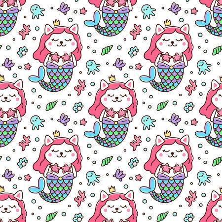 Nahtloses Muster mit Katze in einem Meerjungfrauenkostüm. Mit Schwanz einer Meerjungfrau, Krone, Perle, Muschel, Koralle, Tintenfisch und Seestern. Es kann zum Verpacken, Verpacken von Papier, Textilien usw. verwendet werden. Hervorragender Druck für Kinderkleidung, Bettwäsche usw. Standard-Bild - 100924442