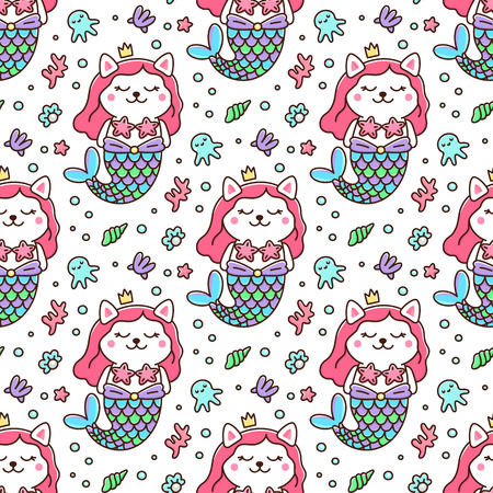 Seamless pattern with cat in a mermaid costume. With tail of a mermaid, crown, pearl, shell, coral, octopus and starfish. It can be used for packaging, wrapping paper, textile and etc. Excellent print for children's clothes, bed linens, etc.
