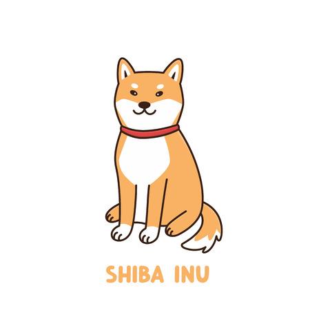 Lindo perro kawaii de raza shiba inu con collar rojo o bandana. Se puede utilizar para calcomanías, parches, fundas de teléfonos, carteles, camisetas, tazas y otros diseños. Ilustración de vector