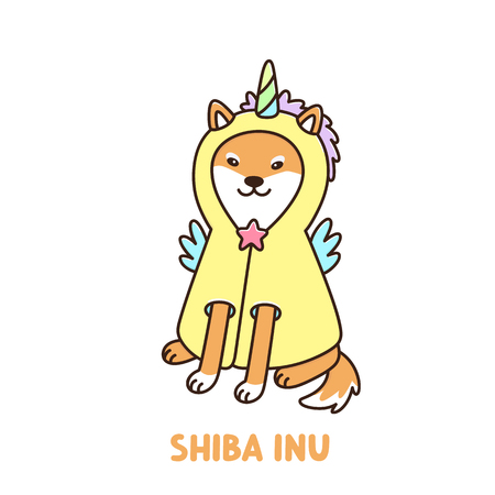 Cute kawaii dog of shiba inu breed in a unicorn costume or raincoat. It can be used for sticker, patch, phone case, poster, t-shirt, mug and other design.