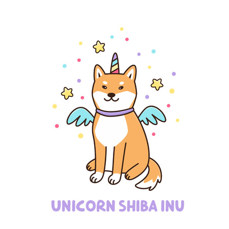 Kawaii dog of shiba inu breed in a unicorn costume. It can be used for sticker, patch, phone case, poster, t-shirt, mug and other design. Иллюстрация