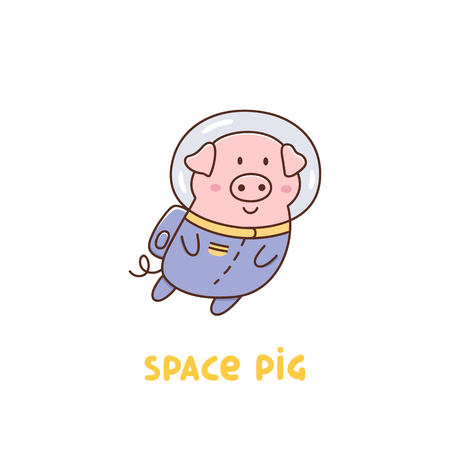 Space pig or astronaut in a space suit on a white background. It can be used for sticker, patch, phone case, poster, t-shirt, mug and other design.  イラスト・ベクター素材