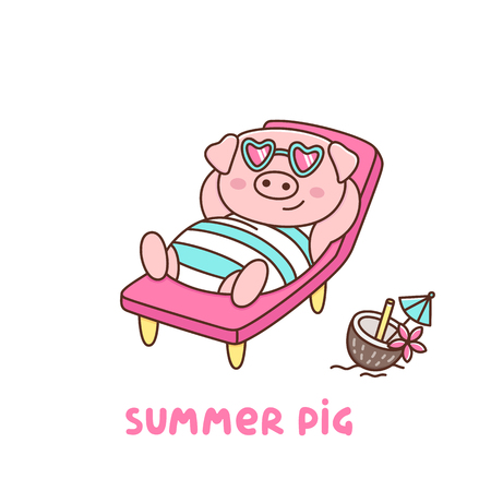 Summer pig in swimsuit and glasses, with coconut cocktail, lays on a deckchair on the beach. It can be used for sticker, patch, phone case, poster, t-shirt, mug and other design.