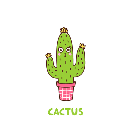Character cute flowering cactus with a smile and eyes, in a pink pot, on a white background. It can be used for sticker, patch, phone case, poster, t-shirt, mug and other design.