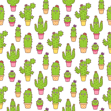 Seamless pattern with сute flowering cactus, in different colors pots, with flowers and faces, on a white background. It can be used for packaging, wrapping paper, textile and etc. Excellent print fo