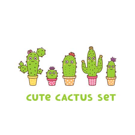 Lindo conjunto de cactus en flor, en macetas de diferentes colores, con flores y caras, sobre un fondo blanco. Se puede utilizar para calcomanías, parches, fundas de teléfonos, pósters, camisetas, tazas y otros diseños.