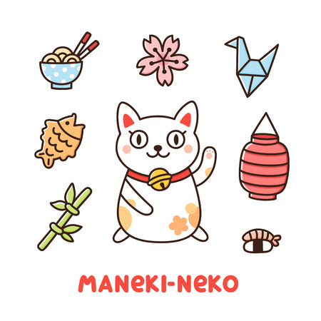 Cute Japanese set with cat Maneki-Neko on a white background. It can be used for sticker, patch, phone case, poster, t-shirt, mug and other design. 向量圖像