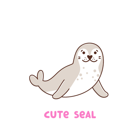 Cute animal seal on white background. It can be used for sticker, patch, phone case, poster, t-shirt, mug and other design. Archivio Fotografico - 102692737