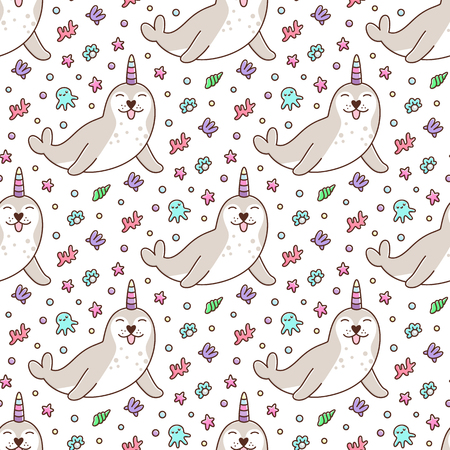 Seamless pattern with seal on white background.It can be used for packaging, wrapping paper, textile and etc. Excellent print for childrens clothes, bed linens, etc.