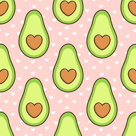 Seamless pattern with avocado, with a bone in the form of a heart, on a pink background with white hearts.  It can be used for packaging, wrapping paper, textile and etc. Excellent print for childrens clothes, bed linens, etc.