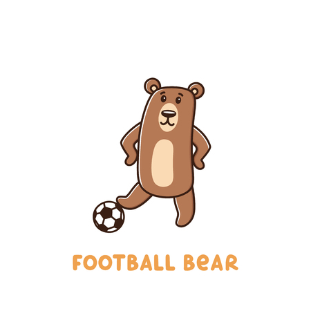 Character football bear with soccer ball on a white background. It can be used for sticker, patch, phone case, poster, t-shirt, mug and other design.