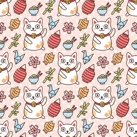 Seamless pattern with cat Maneki-Neko and other Japanese symbols, on a pink background. It can be used for packaging, wrapping paper, textile and etc. Excellent print for childrens clothes, bed linens, etc. Illusztráció
