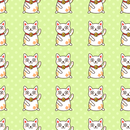 Seamless pattern with Japanese cat Maneki-Neko, on a green background.  It can be used for packaging, wrapping paper, textile and etc. Excellent print for childrens clothes, bed linens, etc.