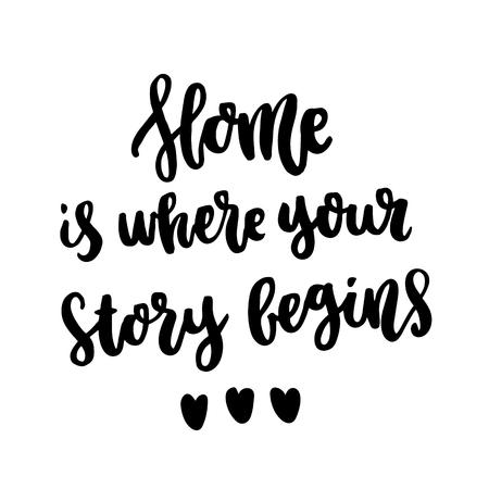 Cytat z tuszu do rysowania odręcznego: Dom jest miejscem, w którym zaczyna się Twoja historia. W modnym kaligraficznym stylu, na białym tle. Może być używany do kart, kubków, broszur, plakatów, szablonów itp.