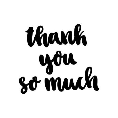 Das handgezeichnete Tintenzitat: Vielen Dank. Im trendigen kalligraphischen Stil auf weißem Hintergrund. Es kann für Karten, Becher, Broschüren, Poster, Vorlagen usw. verwendet werden.