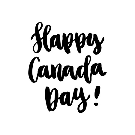 """The inscription """"Happy Canada Day"""" handdrawing of black ink on a white background. It can be used for a sticker, patch, invitation card, brochures, poster and other promo materials."""