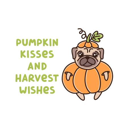 Das lustige Zitat: Kürbisküsse und Erntewünsche, mit süßem Hund der Mopsrasse im Kürbiskostüm. Es kann für Aufkleber, Aufnäher, Handyhüllen, Poster, T-Shirts, Tassen und andere Designs verwendet werden.