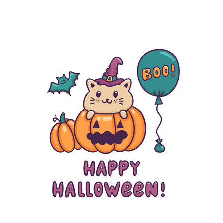 Funny cat in halloween pumpkin and inscription Happy Halloween. It can be used for sticker, patch, phone case, poster, t-shirt, mug etc.
