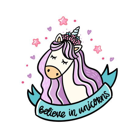 Cute unicorn and blue ribbon with inscription: believe in unicorns. It can be used for sticker, badge, card, patch, phone case, poster, t-shirt, mug etc.  イラスト・ベクター素材