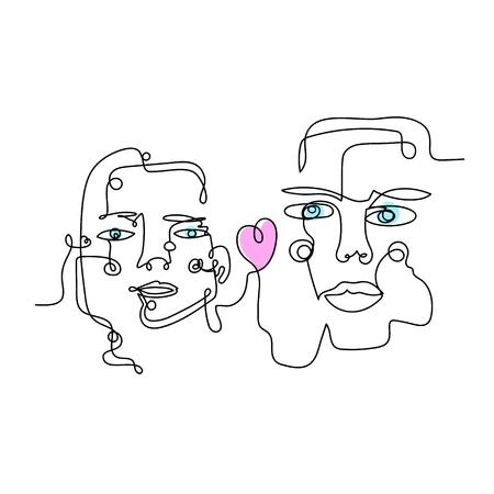 Donna e uomo con cuore, disegnati da una linea continua art. Può essere utilizzato per adesivi, toppe, custodie per telefoni, poster, t-shirt, tazze, ecc. Vettoriali