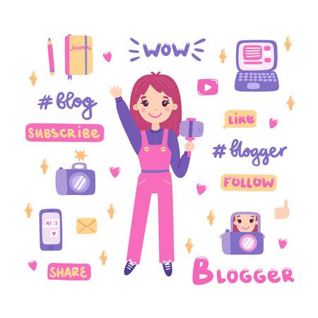 Videoblogger ragazza con fotocamera e selfie stick. Personale per la creazione di contenuti: laptop, fotocamera, telefono, notebook. Isolato su sfondo bianco, vettore.