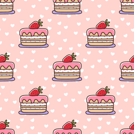 Seamless pattern with strawberry cake, on a pink background with white hearts. It can be used for packaging, wrapping paper, textile and etc. Excellent print for childrens clothes, bed linens, etc.  イラスト・ベクター素材