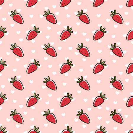 Seamless pattern with strawberry, on a pink background with white hearts. It can be used for packaging, wrapping paper, textile and etc. Excellent print for childrens clothes, bed linens, etc. Çizim