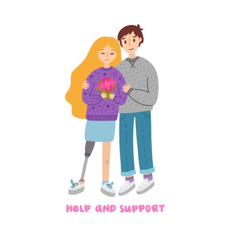 The guy hugs a girl with prosthetic leg and with a bouquet of flowers. Happy loving couple of young people. Illustration