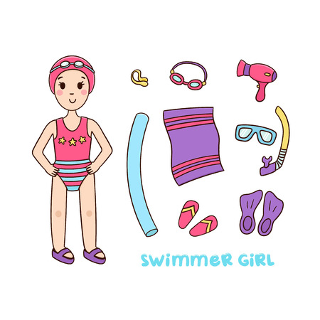Girl swimmer and things for the pool and sports equipment for swimming. Isolated on white background, vector.