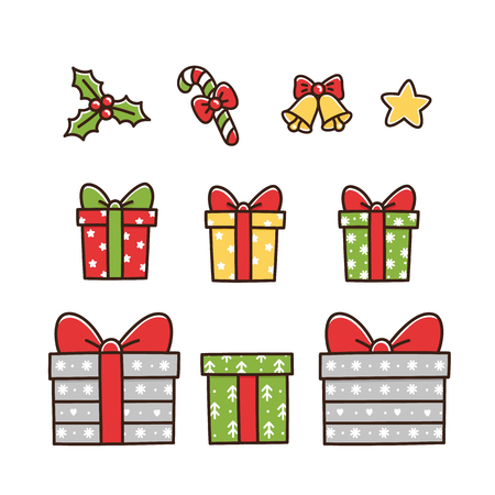 Christmas symbols elements: different gift boxes, star, mistletoe, lollipop with a red bow, a bell.