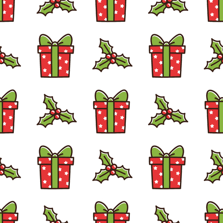 Cute seamless pattern with Christmas box gift and mistletoe. It can be used for packaging, wrapping paper, textile and etc.