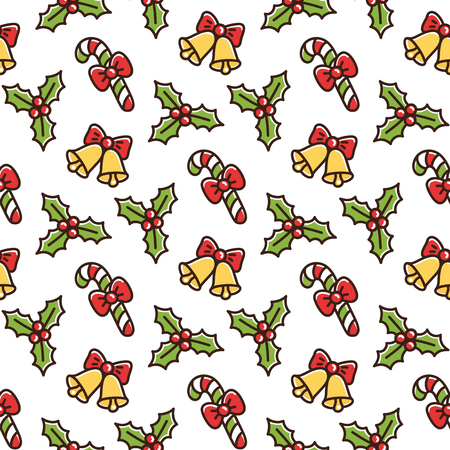Cute seamless pattern with Christmas symbols: mistletoe, lollipop with a red bow, a bell. It can be used for packaging, wrapping paper, textile and etc.