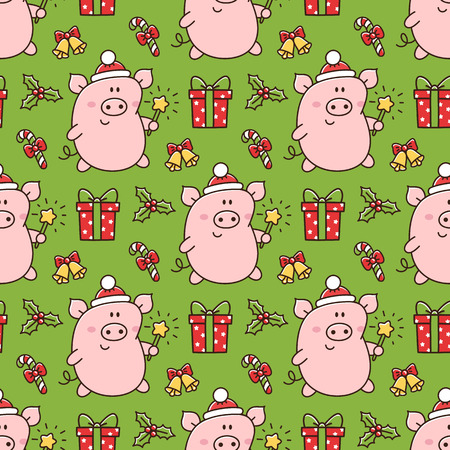 Seamess pattern with cute pig in a Santa Claus hat with bengal fire, and with christmas symbols: gift, star, mistletoe, lollipop. It can be used for packaging, wrapping paper, textile and etc. Ilustracja