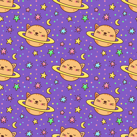 Seamless pattern with cat planet and stars, moon on a violet background. It can be used for packaging, wrapping paper, textile and etc. Excellent print for childrens clothes, bed linens, etc.