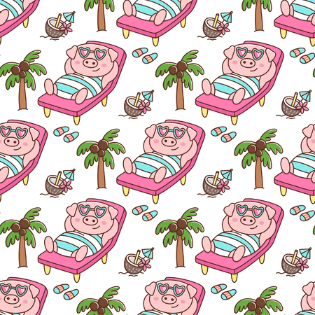 Tropical seamless pattern with Pig in swimsuit and glasses, with coconut cocktail, lays on a deckchair, on white background. It can be used for packaging, wrapping paper, textile and etc.