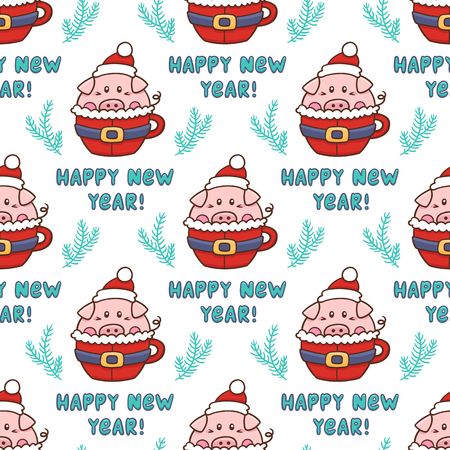 Seamess pattern with sweet pig in a mug stylized like a santa suit, with inscription Happy New Year and with spruce branches. It can be used for packaging, wrapping paper, textile and etc.