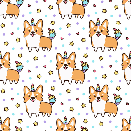 Seamless pattern with welsh corgi in a unicorn costume with horn and colorful tail. Excellent print for childrens clothes, bed linens, phone case, mug, wrapping paper, textile etc.