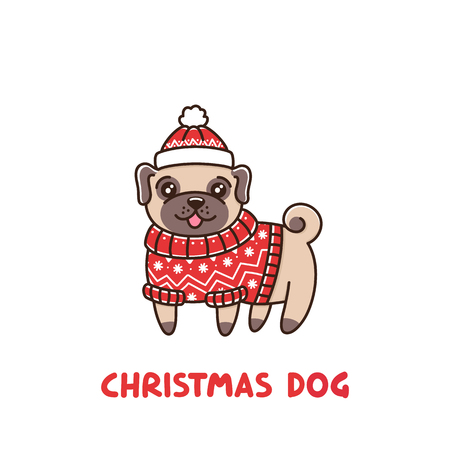Ð¡ute dog breed pug in a fair isle red sweater and hat. It can be used for sticker, patch, phone case, poster, t-shirt, mug and other design. Illustration