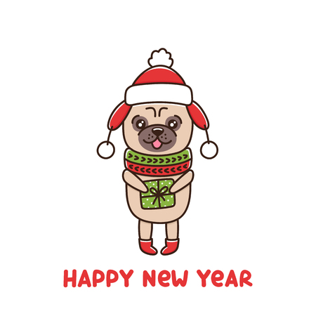 Сute dog breed pug in hat and scarf, is holding a gift. It can be used for sticker, patch, phone case, poster, t-shirt, mug and other design. Illustration