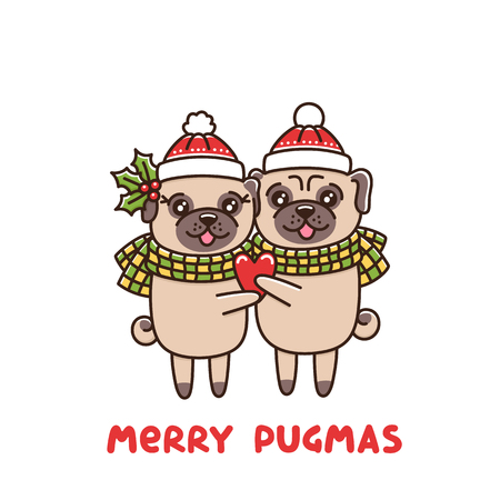 Couple in love of dogs pug breed, hug in identical hats and scarves, with heart in hand. Merry Pugmas its funny wordplay Merry Christmas and Pug. It can be used for sticker, patch, phone case, poster, t-shirt, mug and other design.