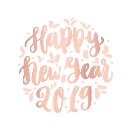 The hand-drawing quote: Happy New Year 2019, in a trendy calligraphic style. It can be used for card, mug, brochures, poster, t-shirts, phone case etc.