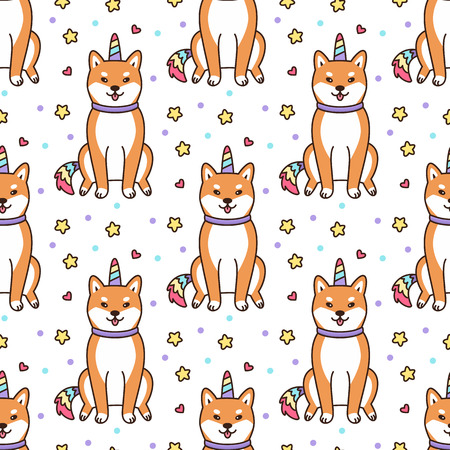 Seamless pattern with shiba inu in a unicorn costume with horn and colorful tail. Excellent print for childrens clothes, bed linens, phone case, mug, wrapping paper, textile etc.